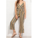 Fashion Yellow Striped Printed V-Neck Straps Bow-Tied Waist Wide Leg Pants Jumpsuits