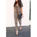 New Trendy Khaki Leopard Pattern V-Neck Short Sleeve Slim Jumpsuits