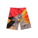 Guys Summer Unique Fashion Colorblock Velcro Closure Casual Surfing Swim Trunks