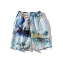 New Trendy Graffiti Painting Drawstring Waist Light Blue Cotton Swim Shorts