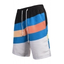 Summer Trendy Colorblock Mens Beach Holiday Swimwear Swim Trunks with Lining