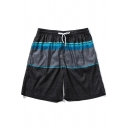 Summer New Fashion Colorblock Quick Drying Loose Fit Black Swim Shorts with Liner