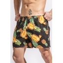 Summer Fashion Pineapple Printed Black Casual Loose Quick Dry Swim Shorts