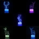 Bedroom Home Decor LED Night Light 7 Color Changing Deer Pattern Design 3D Bedside Light with Touch Sensor