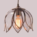 Bedroom Dining Room Lotus Pendant Light Metal Clear Glass 1 Light Vintage Style Ceiling Light