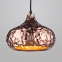 Onion/Dome Shape Pendant Light Traditional 1 Light Metal Ceiling Light in Rose Gold for Dining Room Mall