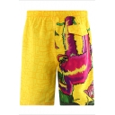 Yellow Cute Short Male Orangutan Printed Beach Shorts with Mesh Liner