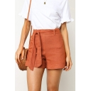 New Stylish Tied Waist High Rise Solid Color Summer Womens Casual Shorts