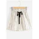 Fashion Vertical Stripe Printed Bow-Tied Drawstring Waist White Casual Paperbag Shorts for Women