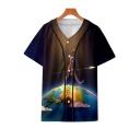 Unique Galaxy Figure on Earth Printed V-Neck Short Sleeve Button Down Unisex Baseball Shirt