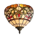 Plant Pattern Wall Lamp Tiffany Style Rustic Stained Glass Sconce Light for Bedroom Kitchen