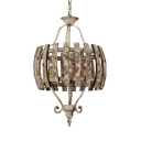 Fence Shade Candle Pendant Light 3 Lights Antique Style Metal Chandelier for Balcony Living Room