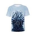 Basic Simple Cool Letter GOT Light Blue Unisex Short Sleeve T-Shirt