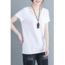 Girls Summer Vintage Linen V-Neck Short Sleeve Casual Loose White T-Shirt