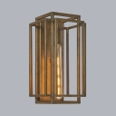 Gold Rectangle Wall Sconce 1 Light Antique Style Metal Sconce Light for Dining Room Kitchen