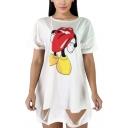 Summer Womens Funny Cartoon Tongue Lip Printed Cutout Hem White Lingline Oversized T-Shirt