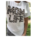 Mom Life Letter Leopard Printed Round Neck Short Sleeve Cotton Light Grey Tee