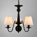 Metal Fabric Chandelier 3/5/6/8 Lights Traditional Hanging Light in Black for Dinging Room Bedroom