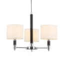 Fabric Metal Drum Shade Chandelier Living Room 3 Lights Traditional Pendant Light in Chrome