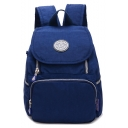 Simple Plain Logo Patchwork Water Resistant Backpack with Zippers 21*10*30 CM