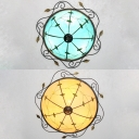 Glass Domed Ceiling Light Bedroom Rustic Style Leaf Flush Mount Light in Beige/Blue