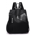 Cool Plain Leather Patched Zipper Embellishment Oxford Cloth Shoulder Bag Backpack 32*15*33 CM