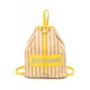 Summer Fashion Letter Stripe Printed Drawstring Backpack 30*12*35 CM