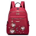 New Fashion Floral Embroidery Oxford Cloth Travel Bag Backpack 28*12*34 CM