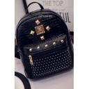 Women's Fashion Crocodile Pattern Rivet Embellishment Small Backpack 22*13*24 CM