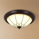 Foyer Dome Flush Mount Light Frosted Glass 3 Lights Rustic Style Ceiling Fixture in White/Warm