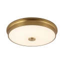 Metal Drum Flush Mount Light Elegant Style Gold Ceiling Light in White/Warm for Foyer
