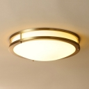 Brass/Black Round Ceiling Light Modern Frosted Glass Flush Mount Light in White/Warm for Foyer