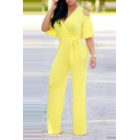 Stylish Wide Short Sleeves V-Neck Tied Waist Loose Simple Plain Jumpsuit for Women