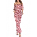 Women's Summer Sexy Floral Print Off Shoulder Wide Leg Chiffon Pants Jumpsuits