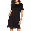 Summer Hot Trendy Solid Color Round Neck Short Sleeve Tassel Hem Mini T-Shirt Dress with Pocket