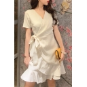 New Stylish Solid Color V-Neck Short Sleeve Bow-Tied Waist Mini A-Line Ruffled Wrap Dress