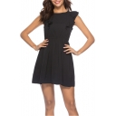 Women's Simple Solid Color Round Neck Ruffled Hem Mini A-Line Dress