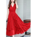 Women's Boho Style Sleeveless V Neck Plain Maxi A-Line Chiffon Dress