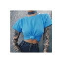 Womens New Fashion Solid Color Blue Short Sleeve Summer Tee with Choker