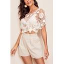 Womens Summer Round Neck Short Sleeve Hollow Out Crochet Holiday White Beach T-Shirt