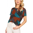 Women's New Trendy Color Block Geometric Printed Round Neck Short Sleeve Tee