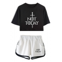 Unique Sword Letter NOT TODAY Cropped Tee Sport Shorts Casual Loose Two-Piece Set for Girls