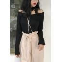 Women's Sexy Halter Long Sleeve Simple Plain Zip Front Slim Linen Tee