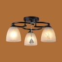 Black Bell Shape Semi Flush Mount Light 3/5/7 Lights Rustic Metal Ceiling Lamp for Foyer