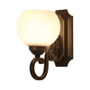 Traditional Globe Sconce Light Frosted Glass 1/2 Lights White Wall Lamp for Dining Room Kitchen