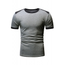 Summer New Trendy Men's Color Block Round Neck Short Sleeves Casual T-Shirt