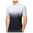 Men's Unique Ombre Print Short Sleeve Round Neck Loose Black T-Shirt