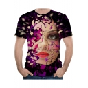 Hot Popular Cool 3D Brick Figure Face Printed Basic Round Neck Short Sleeve Purple T-Shirt For Men