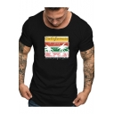 Summer Fashion Tropical Print 1987 Letter Round Neck Short Sleeve Cotton Graphic T-Shirt For Men