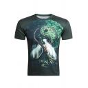 Men's Hot Fashion 3D Tai Chi Tree Printed Basic Round Neck Short Sleeve Casual Green T-Shirt